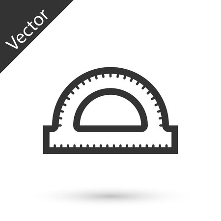 Grey Protractor grid for measuring degrees icon isolated on white background. Tilt angle meter. Measuring tool. Geometric symbol.  Vector Illustration Illustration