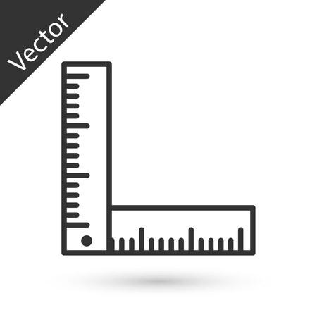 Graues Lineal-Symbol auf weißem Hintergrund. Vektorillustration Vektorgrafik