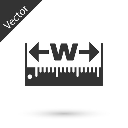 Grey The measuring height and length icon isolated on white background. Ruler, straightedge, scale symbol.  Vector Illustration Illustration