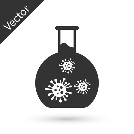 Grey Laboratory glass test tube with virus and bacteria icon isolated on white background. Analysis microorganism, research, diagnosis.  Vector Illustration