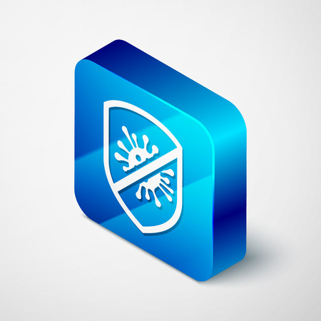Isometric Stop virus, bacteria, germs and microbe icon isolated on white background. Antibacterial and antiviral defence, protection infection. Blue square button. Vector Illustration Illustration