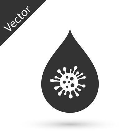 Icône de goutte d'eau sale grise isolé sur fond blanc. Bactéries et germes, maladie des micro-organismes, cancer cellulaire, microbe, virus, champignons. Illustration vectorielle