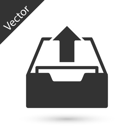 Grey Upload inbox icon isolated on white background. Extract files from archive. Vector Illustration