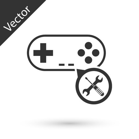 Grey Gamepad with screwdriver and wrench icon isolated on white background. Adjusting, service, setting, maintenance, repair, fixing. Vector Illustration