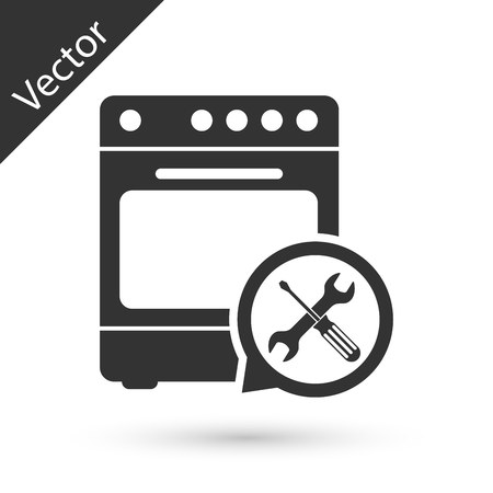 Grey Oven with screwdriver and wrench icon isolated on white background. Adjusting, service, setting, maintenance, repair, fixing. Vector Illustration