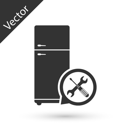 Grey Refrigerator with screwdriver and wrench icon isolated on white background. Adjusting, service, setting, maintenance, repair, fixing. Vector Illustration