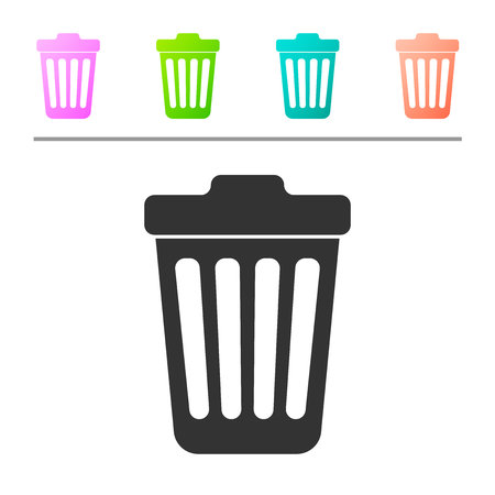 Grey Trash can icon isolated on white background. Garbage bin sign. Set icon in color buttons. Vector Illustration Illustration
