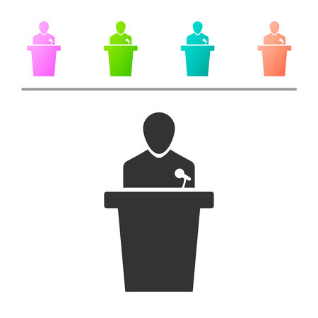 Grey Speaker icon isolated on white background. Orator speaking from tribune. Public speech. Person on podium. Set icon in color buttons. Vector Illustration