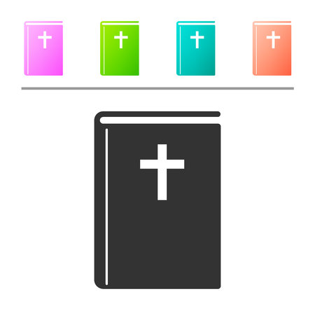 Grey Holy bible book icon isolated on white background. Set icon in color buttons. Vector Illustration
