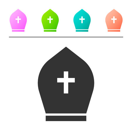 Grey Pope hat icon isolated on white background. Christian hat sign. Set icon in color buttons. Vector Illustration