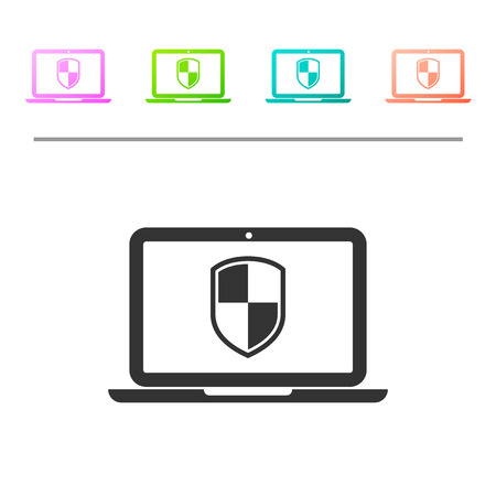 Grey Laptop protected with shield symbol icon isolated on white background. Internet security concept. PC security, firewall technology, privacy safety. Set icon in color buttons. Vector Illustration