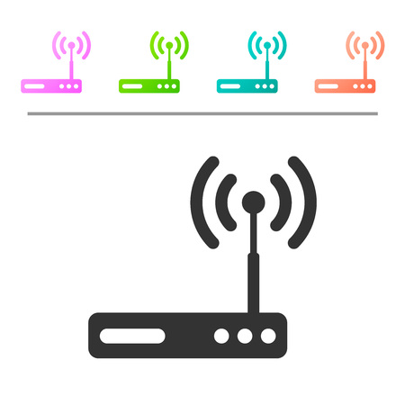 Grey Router and wireless signal symbol icon isolated on white background. Wireless modem router. Computer technology internet. Set icon in color buttons. Vector Illustration Ilustração