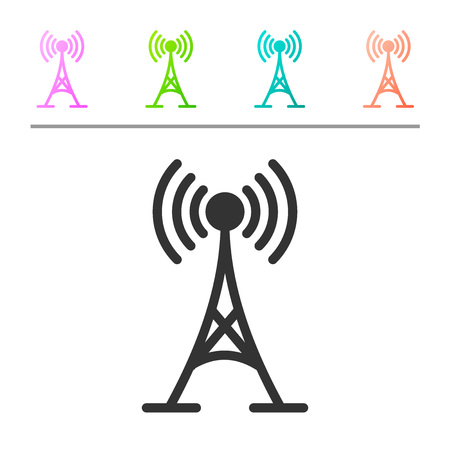 Grey Antenna icon isolated on white background. Radio antenna wireless. Technology and network signal radio antenna. Set icon in color buttons. Vector Illustration Stock Vector - 124369816