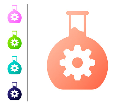 Coral Bioengineering icon isolated on white background. Element of genetics and bioengineering icon. Biology, molecule, chemical icon. Set icon in color buttons. Vector Illustration