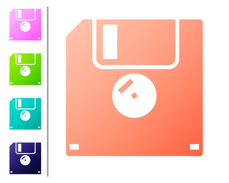 Coral Floppy disk for computer data storage icon isolated on white background. Diskette sign. Set icon in color buttons. Vector Illustration