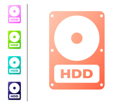 Coral Hard disk drive HDD icon isolated on white background. Set icon in color buttons. Vector Illustration