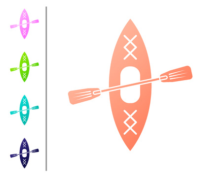 Coral Kayak and paddle icon isolated on white background. Kayak and canoe for fishing and tourism. Outdoor activities. Set icon in color buttons. Vector Illustration Illustration