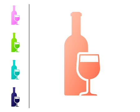 Coral Wine bottle with wine glass icon isolated on white background. Set icon in color buttons. Vector Illustration
