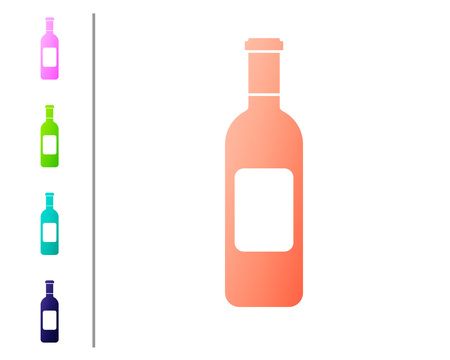 Coral Bottle of wine icon isolated on white background. Set icon in color buttons. Vector Illustration