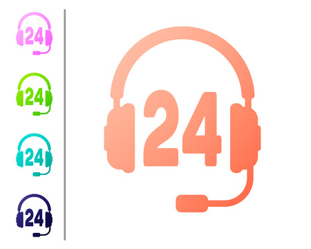 Coral Headphone for support or service icon on white background. Concept of consultation, hotline, call center, faq, maintenance, assistance. Set icon in color buttons. Vector Illustration