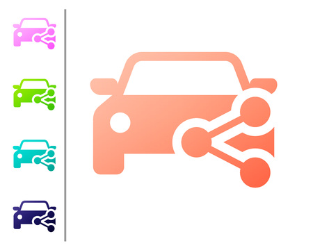 Coral Car sharing icon isolated on white background. Carsharing sign. Transport renting service concept. Set color icons. Vector Illustration