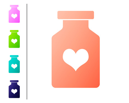 Coral Medicine bottle with pills for potency, aphrodisiac icon isolated on white background. Sex pills for men and women. Set color icons. Vector Illustration