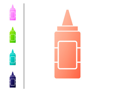 Coral Mustard bottle icon isolated on white background. Set color icons. Vector Illustration