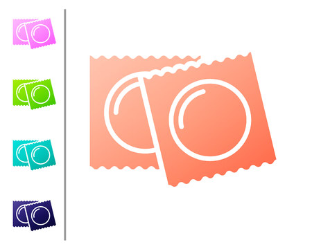 Coral Condoms in package safe sex icon isolated on white background. Safe love symbol. Contraceptive method for male. Set color icons. Vector Illustration