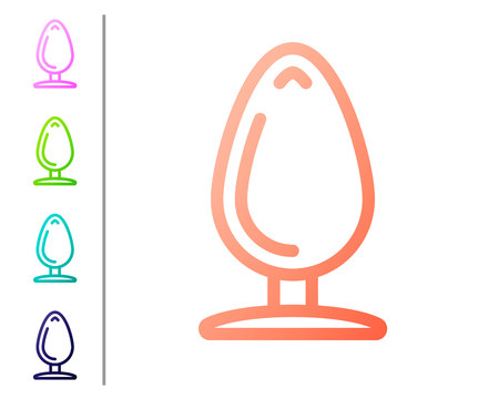 Coral Anal plug icon isolated on white background. Butt plug sign. Fetish accessory. Sex toy for men and woman. Set color icons. Vector Illustration  イラスト・ベクター素材