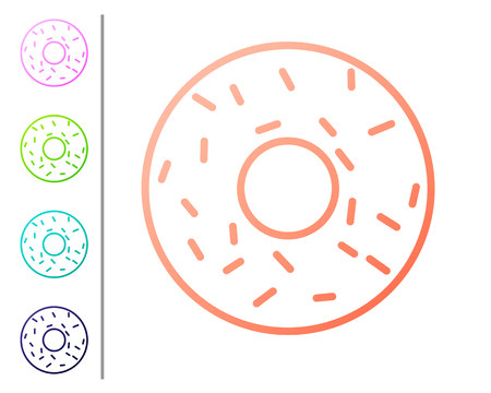 Coral Donut with sweet glaze icon isolated on white background. Set color icons. Vector Illustration Stock Illustratie