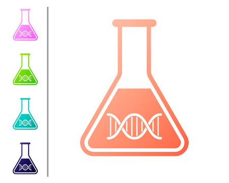 Coral DNA research, search icon isolated on white background. Genetic engineering, genetics testing, cloning, paternity testing. Set color icons. Vector Illustration
