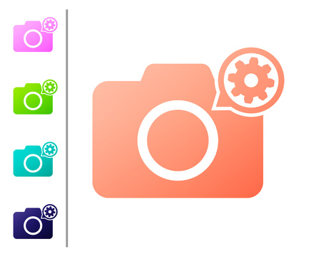 Coral Photo camera and gear icon isolated on white background. Adjusting app, service concept, setting options, maintenance, repair, fixing. Set color icons. Vector Illustration
