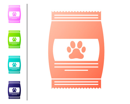 Coral Bag of food for pet icon isolated on white background. Food for animals. Pet food package. Dog or cat paw print. Set color icons. Vector Illustration