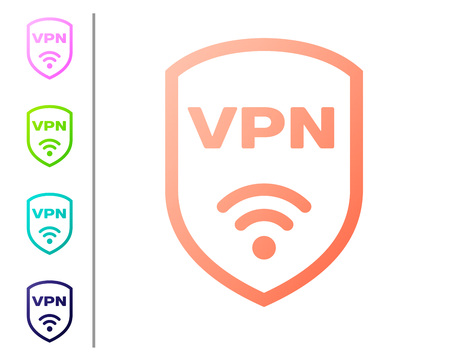 Coral Shield with VPN and wifi wireless internet network symbol icon isolated on white background. VPN protect safety concept. Set color icons. Vector Illustration
