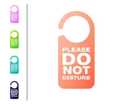 Coral Please do not disturb icon isolated on white background. Hotel Door Hanger Tags. Set color icons. Vector Illustration