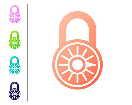 Coral Safe combination lock wheel icon isolated on white background. Combination padlock. Security, safety, protection, password, privacy concept. Set color icons. Vector Illustration Illustration