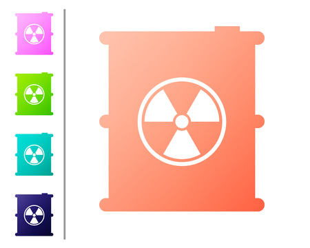 Coral Radioactive waste in barrel icon isolated on white background. Toxic refuse keg. Radioactive garbage emissions, environmental pollution. Set color icons. Vector Illustration