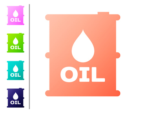 Coral Oil barrel icon isolated on white background. Oil drum container. For infographics, fuel, industry, power, ecology. Set color icons. Vector Illustration Ilustração