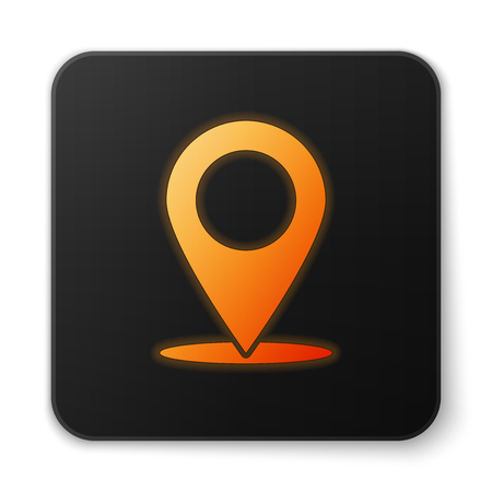 Orange glowing Map pin icon isolated on white background. Pointer symbol. Location sign. Navigation map, gps, direction, place, compass, search concept. Black square button. Vector Illustration