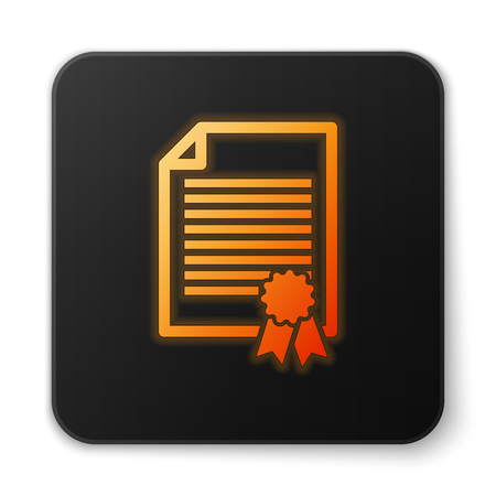 Orange glowing Certificate template icon isolated on white background. Degree icon. Achievement, award, grant, diploma concepts. Business success certificate. Black square button. Vector Illustration