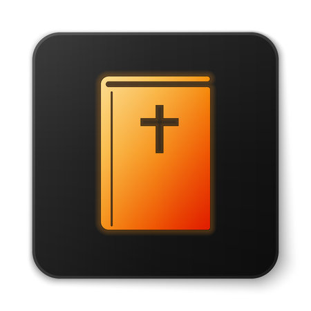 Orange glowing Holy bible book icon isolated on white background. Flat design. Black square button. Vector Illustration