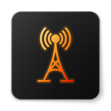 Orange glowing Antenna icon isolated on white background. Radio antenna wireless. Technology and network signal radio antenna. Black square button. Vector Illustration Illustration