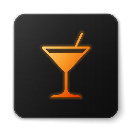 Orange glowing Martini glass icon isolated on white background. Cocktail icon. Wine glass icon. Flat design. Black square button. Vector Illustration