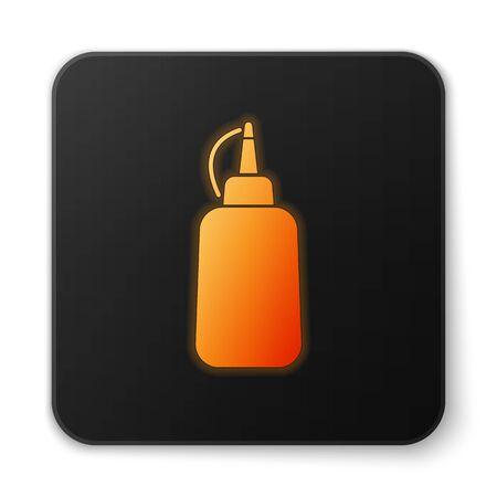 Icono de botella de mostaza naranja brillante aislado sobre fondo blanco. Botón cuadrado negro. Ilustración vectorial