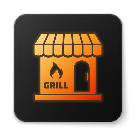 Orange glowing Barbecue shopping building or market store icon isolated on white background. BBQ grill party. Shop construction. Black square button. Vector Illustration Illustration