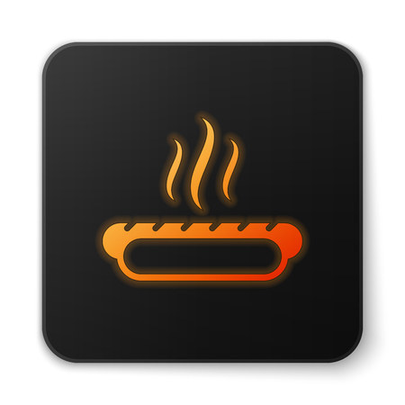 Orange glowing Hotdog sandwich with mustard icon isolated on white background. Sausage icon. Fast food sign. Black square button. Vector Illustration