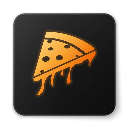 Orange glowing Slice of pizza icon isolated on white background. Black square button. Vector Illustration