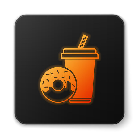 Orange glowing Soda drink with drinking straw and donut icon isolated on white background. Fast food symbol. Black square button. Vector Illustration