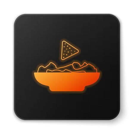 Orange glowing Nachos in plate icon isolated on white background. Tortilla chips or nachos tortillas. Traditional mexican fast food. Black square button. Vector Illustration