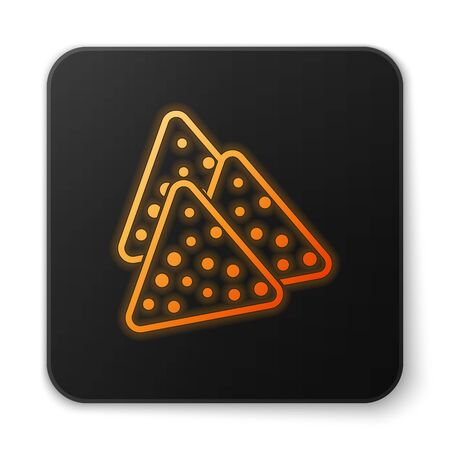 Orange glowing Nachos icon isolated on white background. Tortilla chips or nachos tortillas. Traditional mexican fast food. Black square button. Vector Illustration Illustration